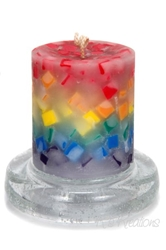 Rainbow Chunk Pillar Candle
